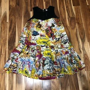 Rachel Roy Graffiti Print Silk Mesh Trapeze Dress